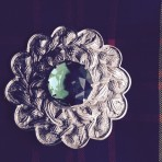 Plaid Brooch Large   11 cm Green Stone Massive
