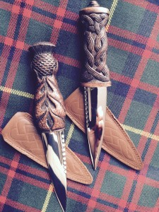 AAA Sgian Dubh Thistle and Celtic Knot Brown