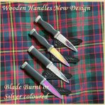 New design Wooden Handles.Blades burnt or silver coloured